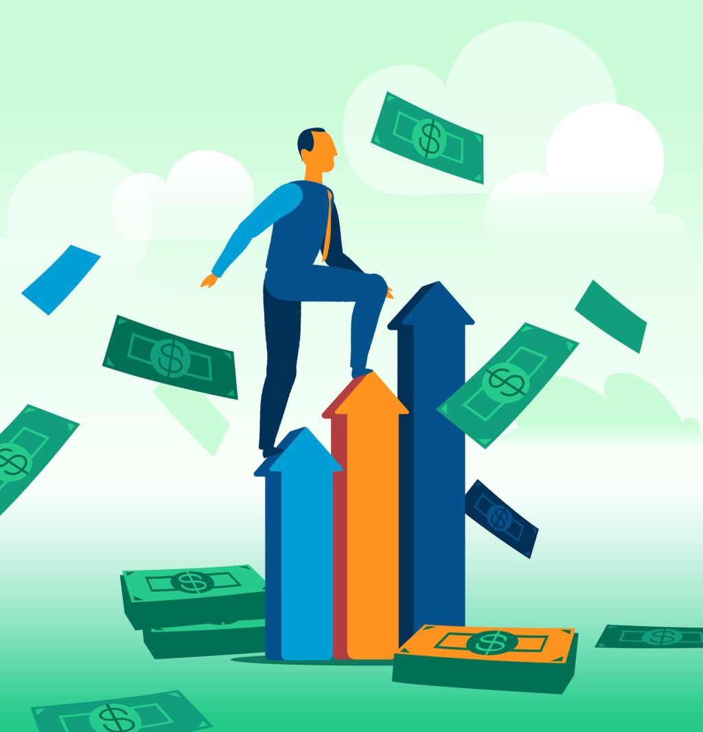 sales growth money arrows climbing